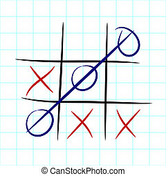 Tic tac toe game on maths paper sheet - EPS10