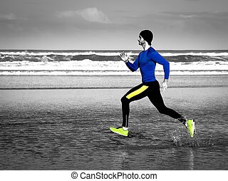 Running man - Young athlete training  on the beach