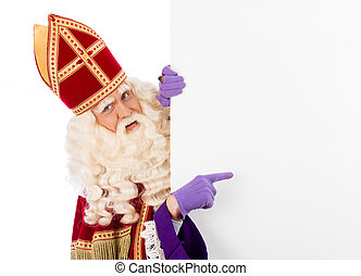 Sinterklaas with placard. isolated on white background....