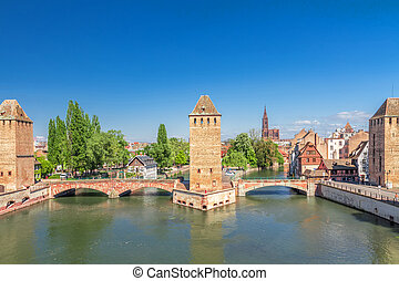 Strasbourg, medieval bridge Ponts Couverts. Alsace, France.