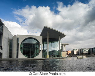 River Spree in front of the german Chancellery in Berlin -...