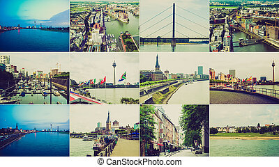 Retro look Duesseldorf landmarks - Vintage retro looking...