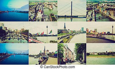 Retro look Duesseldorf landmarks - Vintage retro looking...