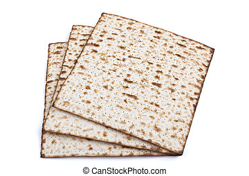 three Matzot - Jewish traditional Pesach textured Matza...