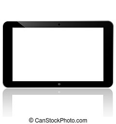 black computer tablet touchscreen on white background vector...