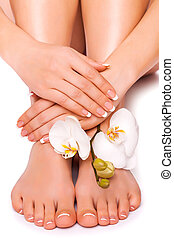 womans manicure and pedicure with orchid flower - womans...
