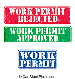 Stamps work permit - Set of grunge rubber stamps work...