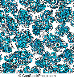 Decorative vector blue flower ornamental pattern -...