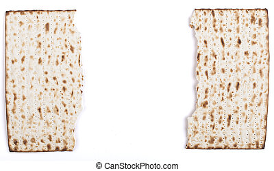 Broken Matza - Broken in half Jewish traditional Pesach...
