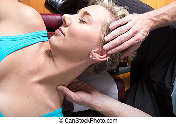 Closeup of female patient neck muscles massage - Female...