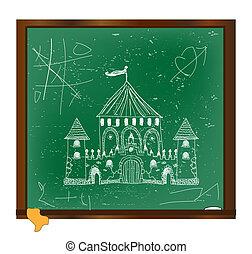 quadro-negro, castelo, arte, desenho
