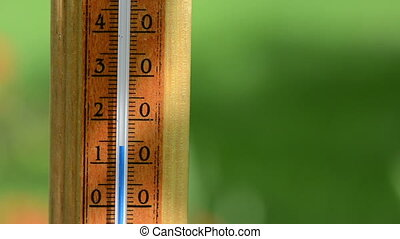temperature rise celsius - Closeup of fast rising...