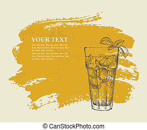 Long island iced tea cocktail on orange grunge background