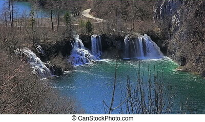 Waterfall in Plitvice lakes national park, Croatia -...