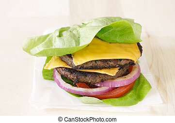 hambúrguer, alface, envoltório, fim, cima