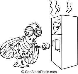 fly and vending machine coloring page - Black and White...