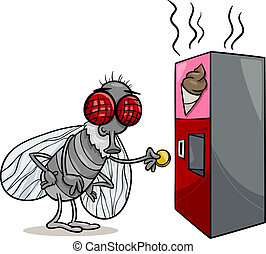 fly and vending machine cartoon