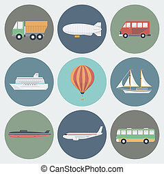 Transport Icons Set - Transport Circle Icons Set in Trendy...