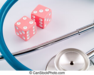 Gambling with Her Health - Pink Dice and a Stethoscope...