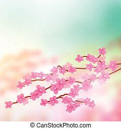 Cherry Blossom Tree Branch Vector illustration.