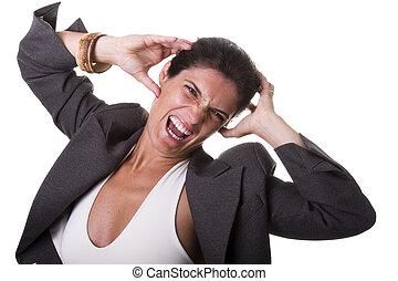 stressed businesswoman - a stressed businesswoman screaming...
