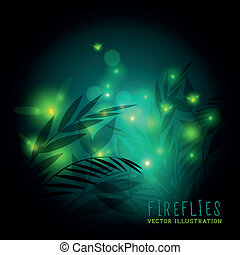 FireFlies At Night - Fireflies in the forest at night -...