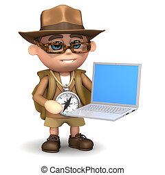 3d Explorer with laptop