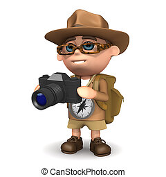3d Explorer takes a photo - 3d render of an explorer with a...