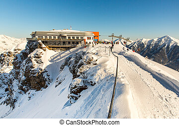 Hotel in ski resort Bad Gastein in winter snowy mountains,...