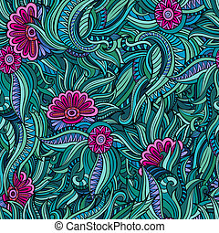 Vector seamless abstract flowers pattern. Endless...