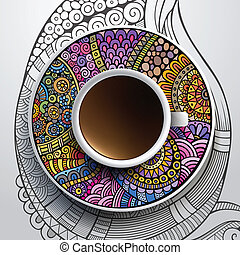 Cup of coffee and hand drawn floral ornament - Vector...