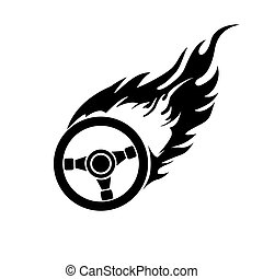 Black and white burning automobile steering - black and...