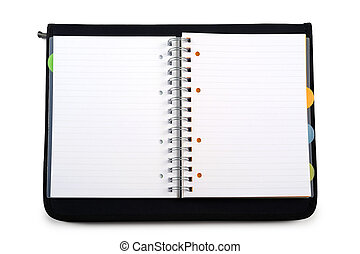 agenda - open agenda with black cover, on white background