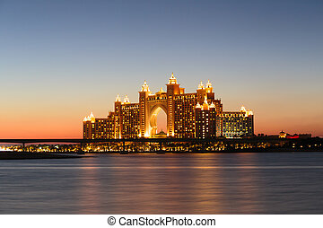 Night view Atlantis Hotel in Dubai, UAE - DUBAI,...