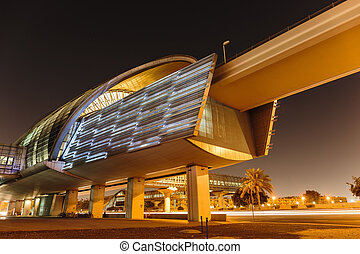 Metro subway station at night in Dubai United Arab Emirates...