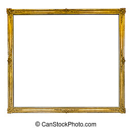 thin golden antique frame with ornaments isolated on white