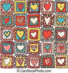 Seamless pattern of original doodle hearts - Series of...