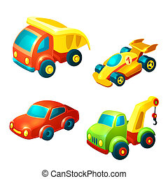 Transport toys set - Toy transport decorative icons set with...