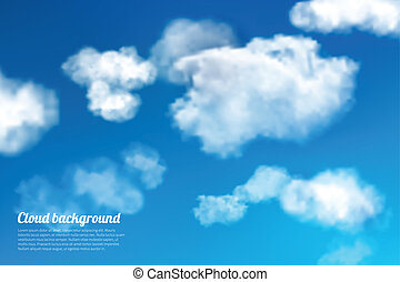 Sky clouds background - Blue sky with white summer clouds...