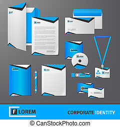 Corporate identity template - Blue geometric technology...