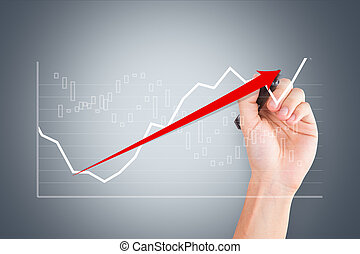 Hand Drawing Graph Chart with Red Arrow