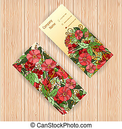 Vector business cards with floral pattern. - Unique vector...