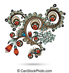 Henna Paisley Mehndi Abstract Vector Element.
