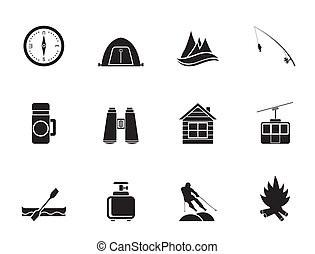 Tourism and vacation icons - Silhouette travel, Tourism,...