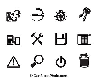 programming and application icons - Silhouette developer,...