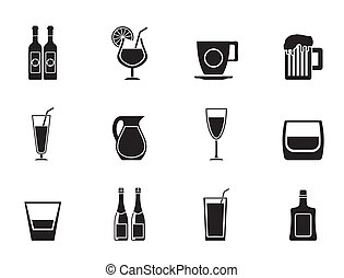 different kind of drink icons - Silhouette different kind of...