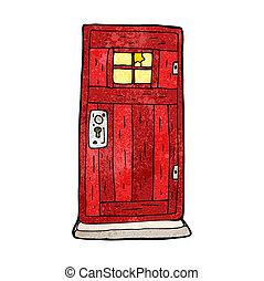 cartoon old wood door