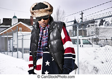 funky african man in american flag themed winter clothing