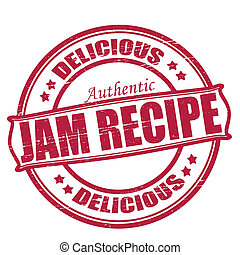 Jam recipe - Stamp with text jam recipe inside, vector...