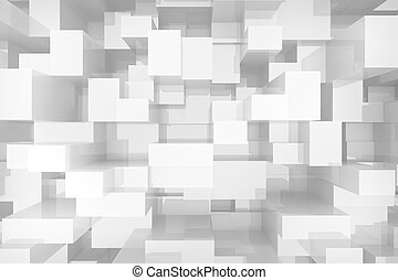 white cubes background - Abstract white cubes background, 3d...